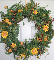 Woodland Garden Silk Door Wreath 22 in