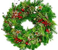 Very Merry Decorated Fresh Christmas Wreath 24 in