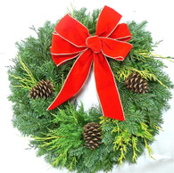 Traditional Velvet Fresh Christmas Wreath 24 in