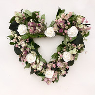 Annabelle White Rose Heart Wreath 20 in