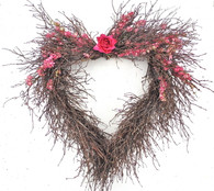 Larkspur Heart Twig Wreath 20 in.