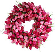 Pink Tulip Silk Spring Door Wreath 22 inch