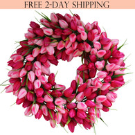 Pink Tulip Silk Spring Door Wreath 19 inch