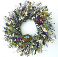Robins Egg Floral Spring Wreath - 22 in