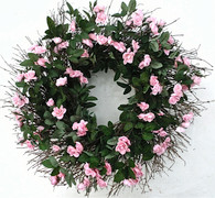 Savannah Pink Rose Front Door Wreath 22 in