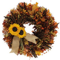 Maple And Sunflower Natural Fall Wreath