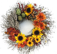 Sunflower Medley Decorative Wreath 22 inch