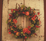 Pumpkin Medley Silk Front Door Wreath
