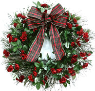 Madeleines Holiday Silk Rose Wreath With Bow 22 inch
