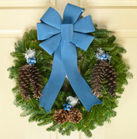 Bella's Blueberry Fresh Balsam Christmas Wreath With Bow 23 inch