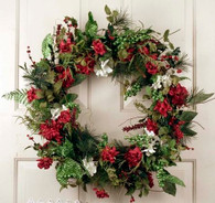 Festive Holiday Artificial Christmas Door Wreath 22 in