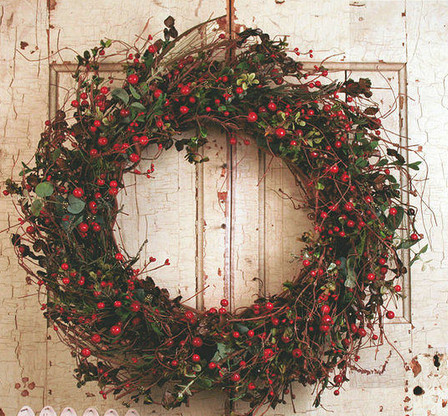 Image 1 & Auburn Red Berry Silk Winter Door Wreath 22 in - The Wreath Depot