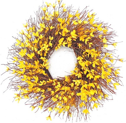 Home; Yellow Forsythia Spring Front Door Wreath 22 In. Image 1