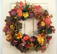 Ridgetop Silk Front Door Fall Wreath 22 in