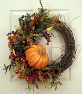 Pumpkin Harvest Silk Front Door Fall Wreath 22 in