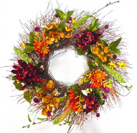 Bedford Autumn Silk Outdoor Wreath 22 in