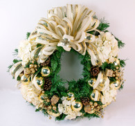 Rockingham Decorated Artificial White Christmas Door Wreath