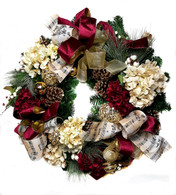 Silent Night Decorated Artificial Silk Christmas Door Wreath