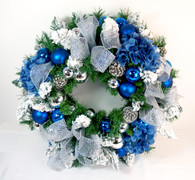 Sapphire Silk Decorated Artificial Christmas Wreath For Front Door