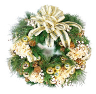 Labelle Silk Artificial Christmas Door Wreath With Bow