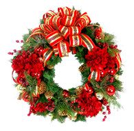 Julienne Silk Christmas Front Door Wreath With Bow