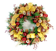 Balmere Ribbon Silk Artificial Christmas Door Wreath
