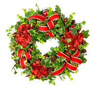 Prevost Hydrangea and Ribbon Silk Artificial Christmas Door Wreath