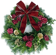 Mulberry Rose Fresh Christmas Wreath For Front Door 22 in