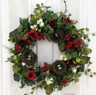 Natures Birds Nest Silk Spring Door Wreath 22 in