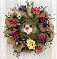 Burlap Bunny Silk Easter Wreath 22 in