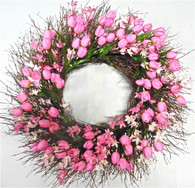 Palamar Tulip Silk Spring Door Wreath 20 in