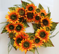 Melbourne Silk Sunflower Front Door Wreath 22 inch