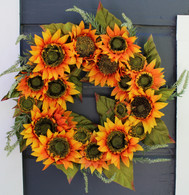 Melbourne Silk Sunflower Front Door Fall Wreath 22 inch