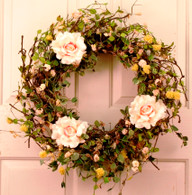 Aldenia Silk Spring Outdoor Door Wreath 22 in