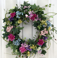 Lacie Floral Silk Spring Front Door Wreath 22 in