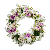 Cherry Blossom And Peony Silk Spring Door Wreath 18 inch