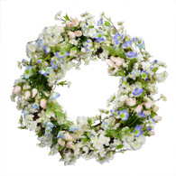 Cherry Blossom Rose Silk Spring Door Wreath