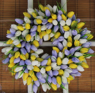 Lavender And Yellow Tulip Silk Spring Door Wreath 19 inch