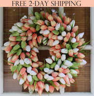 Coral Tulip Silk Spring Door Wreath 19 Inch