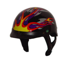 DOT Fire Flame Shorty Motorcycle Helmet