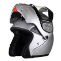 DOT Modular Full Face Silver Snowmobile Helmet