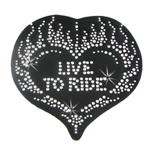 Heart Rhinestone Motorcycle Helmet Patch