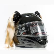 Blonde Motorcycle Helmet Pigtails