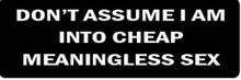 DON'T ASSUME I AM INTO CHEAP MEANINGLESS SEX Motorcycle Helmet Sticker