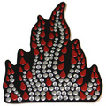 Red Flame Rhinestone Helmet Patch