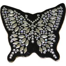 Silver Butterfly Rhinestone Helmet Patch