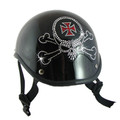 Skull Crossbones Rhinestone Helmet Patch on a helmet