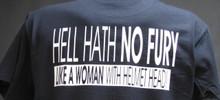 hell hath no fury like a woman with helmet head shirt
