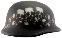 DOT German Skull Pile Motorcycle Helmet