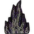 Purple Flame Rhinestone Helmet Patch